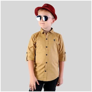 Mashup Boy Cotton blend Solid Shirt Beige