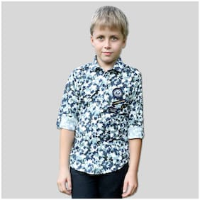 Mashup Boy Cotton blend Printed Shirt Green