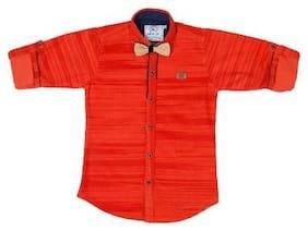 Mash Up Boy Cotton Solid T-shirt - Orange