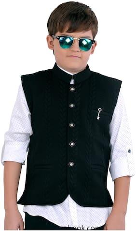 Mashup Boy Cotton blend Printed Ethnic jacket - Black