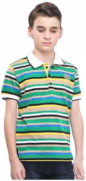 MashUp Super Stripes - green polo t-shirt