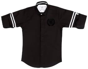 Mashup Boy Cotton Striped Shirt Black