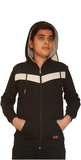 MAXEXCEL KRAZYGANG POLY COTTON HOOD WITH ZIPPER FOR BOYS(KG-906 BLACK 11-12)
