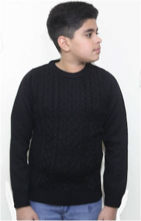 MAXEXCEL Boy Poly cotton Solid Sweater - Black