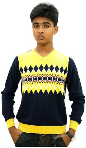 MAXEXCEL Boy Cotton Solid Sweater - Yellow