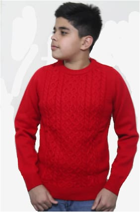 MAXEXCEL Boy Poly cotton Solid Sweater - Red