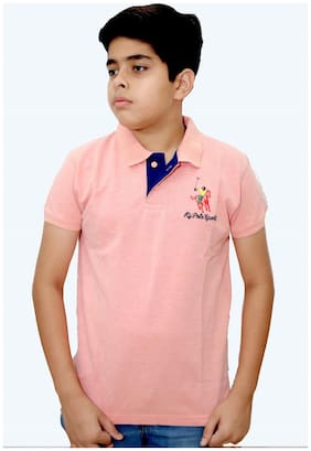 MAXEXCEL Boy Cotton Solid T-shirt - Pink