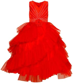 Maybemine Kids Girl's Birthday Party Wear Gown Dress Girls Party Wear Full-Length Dress  (Red)