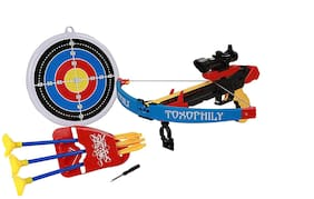 MD Crossbow & Arrow Action Shooting Toy Set with Laser Target and 3 Safe Dart Arrow & Target Toy for Kids - Multi Color
