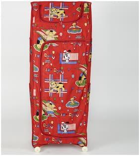 MDN Baby 5 Shelves Folding Wardrobe,Plastic (Red)