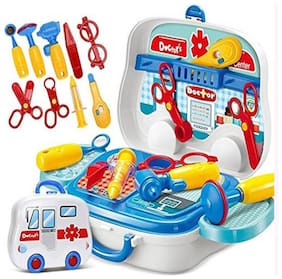 Medical Equipment Doctor Play Kit set in Medical Suitcase With Wheels To Play at Home for kidz