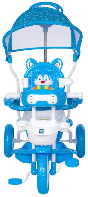 Mee Mee Baby Tricycle with Rocking Function (2 in 1) & Easy-to-Push Handle with Canopy (Blue)