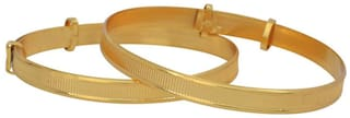 Memoir Gold plated expandable free size overlapping band Nazariya for New borns (0-3yrs)