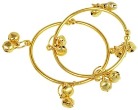 Memoir Gold plated plain simple ghungroo adorned, expandable free size Nazariya for New borns (0-3yrs)