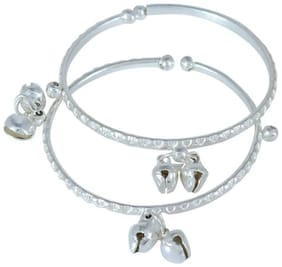 Memoir Silverplated adjustable size Lucky charm ghungroo adorned Bangle kada cuff Nazariya tradtional ethnic jewellery for New borns (0-3yrs)