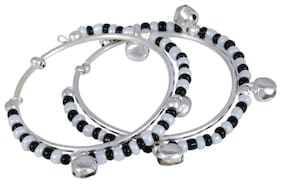 Memoir Silver plated classic black and white beads traditional ADJUSTABLE SIZE Nazariya for new borns (0-1yrs)