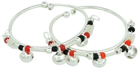 Memoir Silver plated Colourful beaded, ghungroo adorned, expandable free size Nazariya for New borns (0-3yrs)