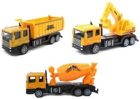 Metal Die Cast Construction Truck with Light & Music, Pull Back Action 1:60 Ratio (Assorted Design)