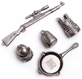 Metal Key Chain Soldier Gun Pan bag pack shield and Helmet