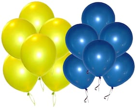 Metallic Balloons;BIG Size 12 inch (Yellow;Blue Pack of 50) FREE Banner