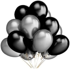 Metallic Balloons;Size 12 inch (Black;Silver Pack of 50) FREE Banner