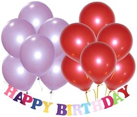 Metallic Balloons;Size 12 Inchs (Purple;Red Pack of 50) FREE Banner