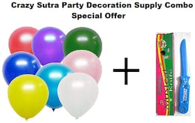 Metallic Plain Large Balloon - Multicolor (Pack of 50) + Happy Birthday Musical Knife