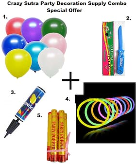 Metallic Plain Large Balloon-Multicolor (Pack of 50)+Happy Birthday Musical Knife+Handy Air Balloon Pump/ Balloon Inflator+ Glow Sticks Bands-Premium Lumistick Bracelets-100 pcs Set Assorted Colours