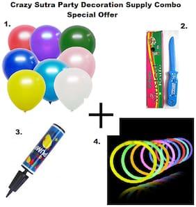 Metallic Plain Large Balloon-Multicolor (Pack of 50)+Happy Birthday Musical Knife+Handy Air Balloon Pump/ Balloon Inflator+ Glow Sticks Bands-Premium Lumistick Bracelets-100 pcs Set Assorted Colours