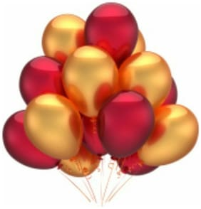 Metallic Red And Golden Balloon (pack of 50)