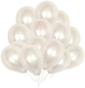 Metallic White Birthday Party Decoration Balloons ( Pack Of 150)