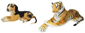 MGP Creation Multicolor Combo of Stuffed Sitting Dog And Tiger
