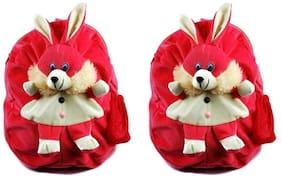 MGP Dark Pink Rabbit Nursery Play Kids School Bag-Set of 2