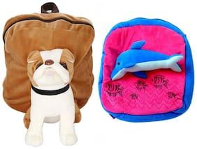MGP Exclusive Brown Pug Dog & Printed Fish Nursery Kids School Bag