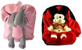 MGP Premium Play School Elephant & Red Micky Kids School Bag