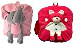 MGP Premium Play School Elephant & Dark Pink Teddy Kids School Bag