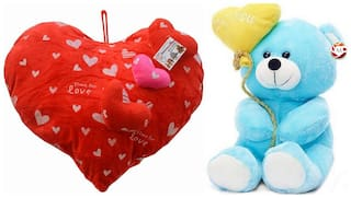 Mgp Toys Combo Of Red 3 Heart On Heart Shape Cuishion & I Love You Ballon Heart Teddy- Blue(20cm)