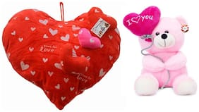 Mgp Toys Combo Of Red 3 Heart On Heart Shape Cuishion & I Love You Ballon Heart Teddy- Pink (22cm)