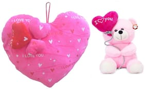 Mgp Toys Combo Of Pink 3 Heart On Heart Shape Cuishion & I Love You Ballon Heart Teddy- Pink (22cm)