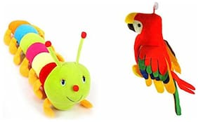 Mgp Toys Musical Parrot (30 Cm) And Colourful Caterpillar (55 Cm)combo