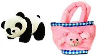 Mgp Toys Panda Soft Toy (26 Cm) And Teddy Bag(30 Cm) Combo