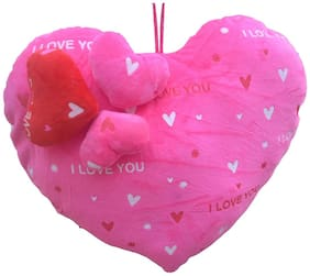 Mgp Toys Pink Valentine Heart Shape Cuishion With 3 Sweet Premium Hearts
