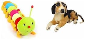 Mgp Toys Plushed Sitting Dog (32 Cm) And Colourful Caterpillar (55 Cm)combo