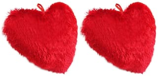 Mgp Toys Polyfill Stuff Soft Red Heart Cushions ( 48cm X 40cm) Set Of 2