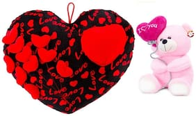 Mgp Toys Premium Combo Of Black & Red Heart Cuishion With I Love You Ballon Heart Teddy- Pink (22cm)