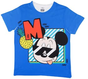 Mickey & Friends Boy Polyester Solid T-shirt - Blue