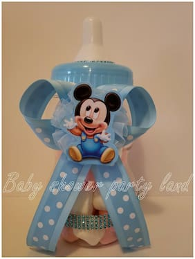 "Mickey Mouse Centerpiece Bottle Large 12"" Baby Shower Piggy Bank Boy Decorations"