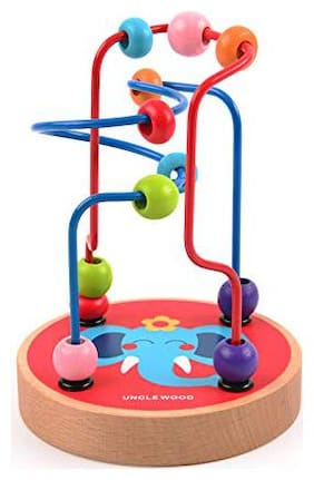 Mideer Mini Wire Bead Maze Puzzle Game Wooden Montessori Educational Toys for Children Baby Kids Gift - Edu Toys (Elephant)
