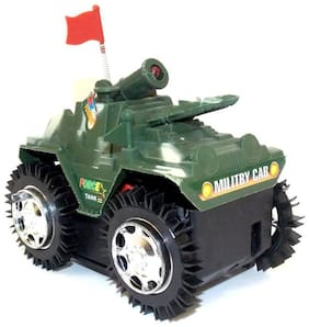 Military Tank Model Tumbling Tank Toy With LED Lights On Top, Battery Powered From Pikaboo