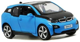 Mini Auto Blue 1:32 Scale Diecast Metal BMW I3 Pull Back Car Toy with Openable Doors, Light and Sound Effects